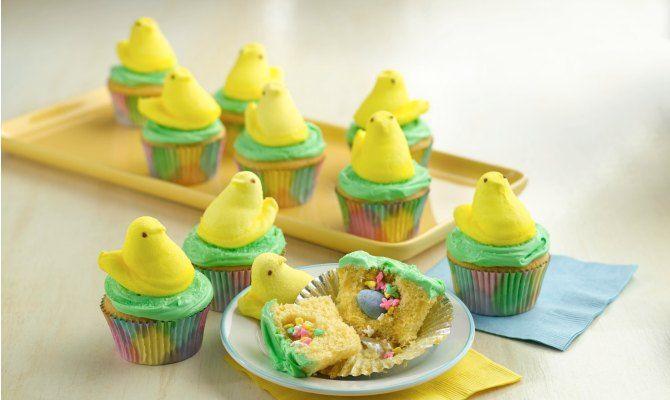 Peeps Chick Surprise-Inside Cupcakes