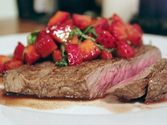 Steak with Strawberry-Balsamic Salsa