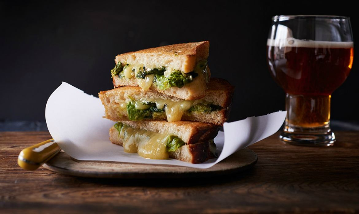 Braised Broccoli Rabe Grilled Cheese Recipe by Milagros Cruz