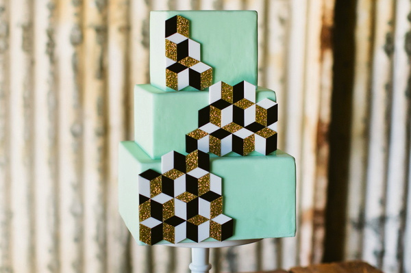 Modern Geometric Wedding Cake
