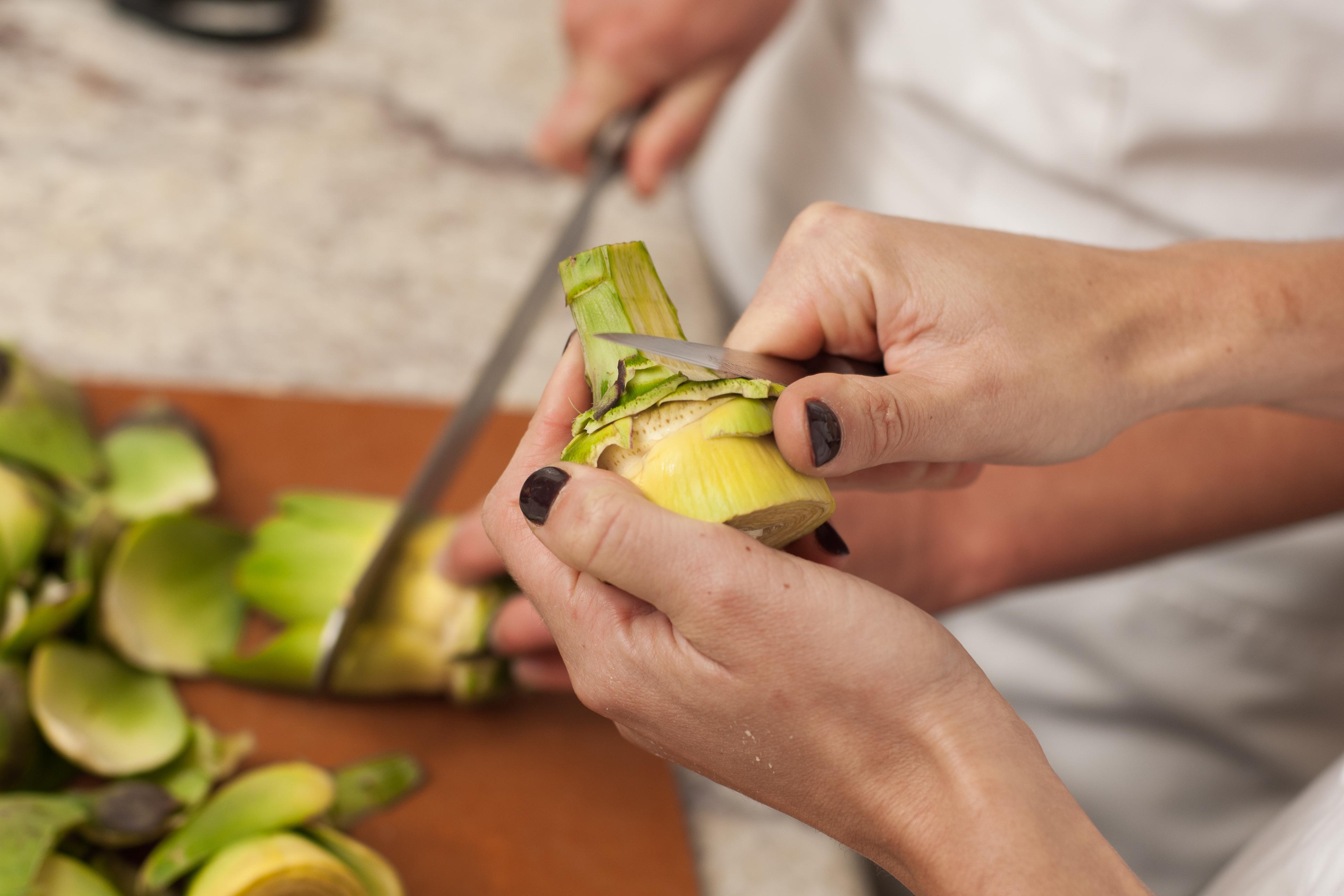 trim the stem of the artichoke