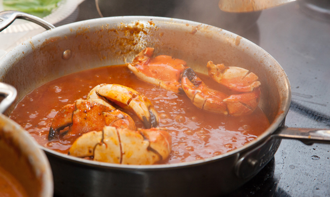 Care for some spicy chili crab? It's a popular Singaporean dish.