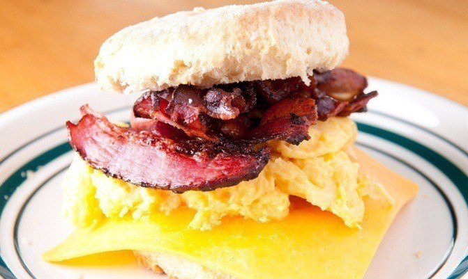 World's Best Bacon Egg & Cheese Biscuit