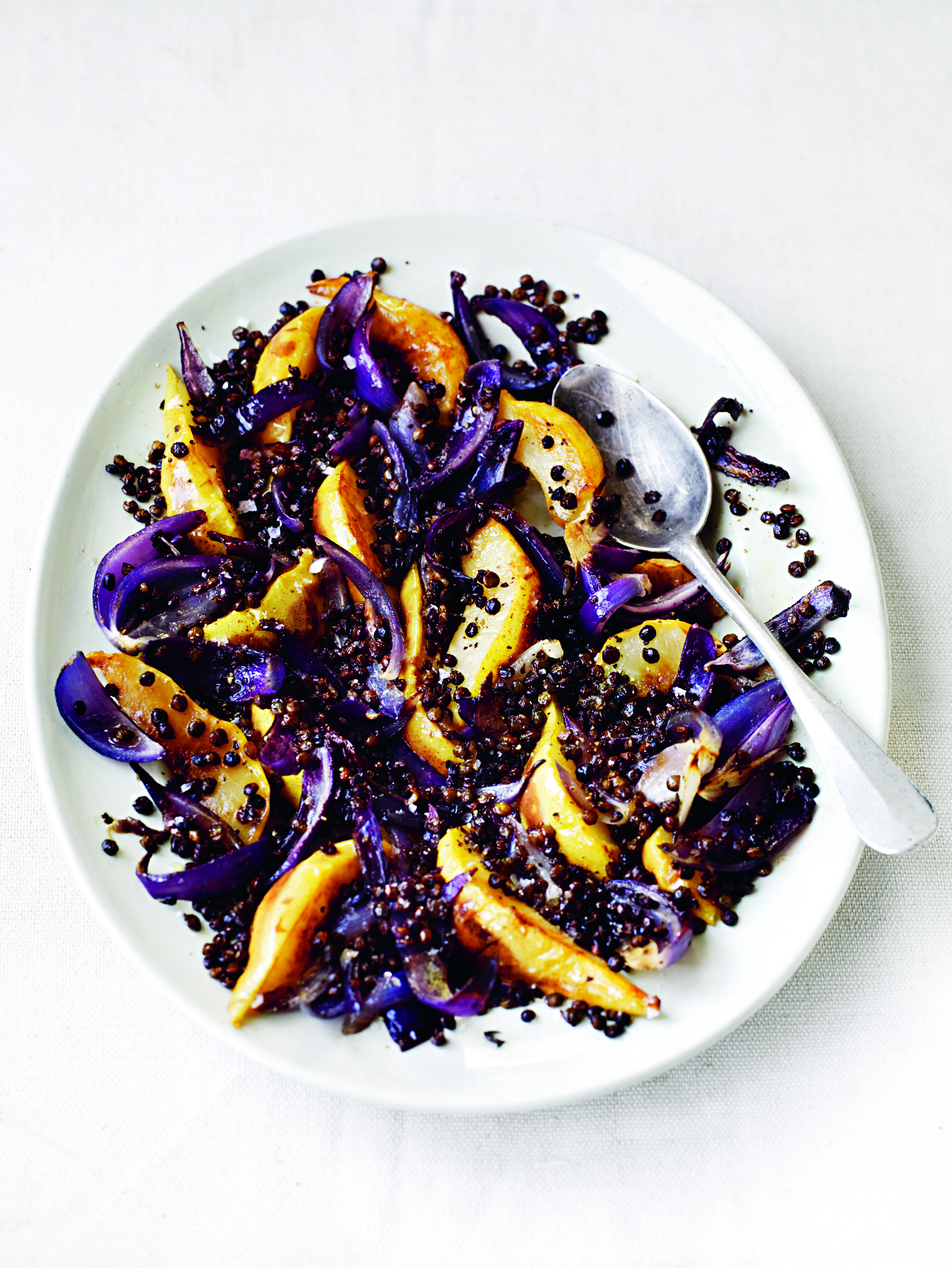 Fried Pears With Roasted Red Onions and Crisped Puy Lentils