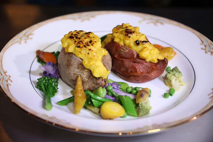 Salt-Baked Heirloom Sweet Potatoes with Creamed Corn Glaze